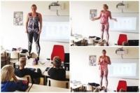 Giáo viên lớp 9 tại Hà Lan cởi đồ để minh họa bài giảng môn Sinh học