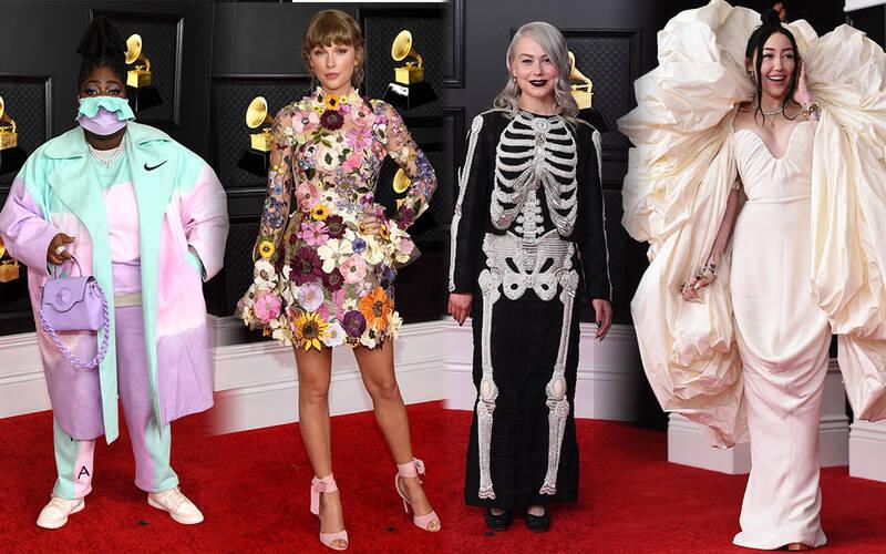 """Siêu thảm đỏ Grammy: BTS điển trai xuất sắc, Taylor Swift sến rện """"chặt chém"""" Doja Cat và em gái Miley hở bạo nhức mắt"""